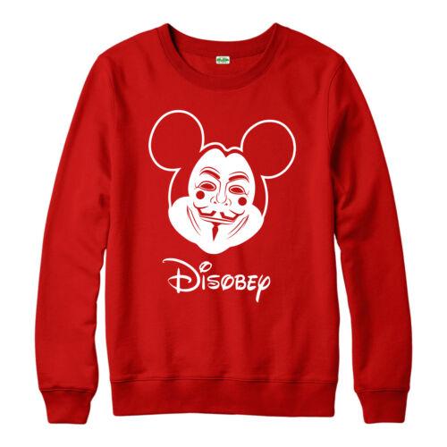 disobbedire VENDETTA Mouse regalo FESTIVO Adulti e Bambini Felpa Con Cappuccio Top Guy Fawkes Felpa con cappuccio