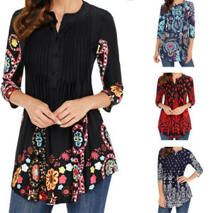 Women-Vintage-Printed-Tunic-Tops-Plus-Casual-Loose-Tops-Blouse-Shirt-T-Shirt-US