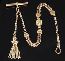 Antique Victorian 9Ct Gold Albertina Watch Chain ,Tassel Fob c 1880's, 13.8g