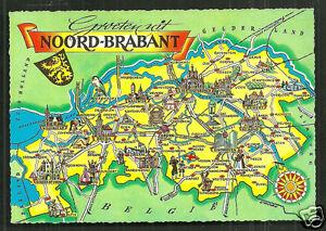 Map postcard NoordBrabant Coat of Arms Netherlands eBay