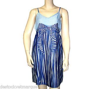 a4d64811baf CHIPIE Robe bretelles femme imprimé pois etr rayures bleu modèle ...