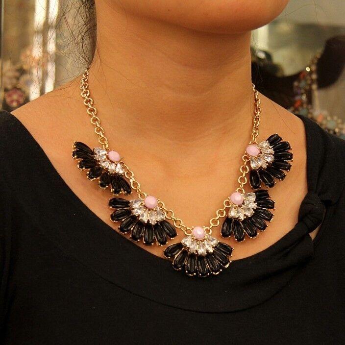 Collare Da women Ventilatore black pink Cristallo Moderno Originale Sera