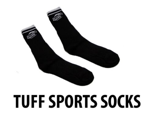 New 5 Pairs Cotton Rich Colour TUFF Sports Socks Extra Thick Long Warmth Black
