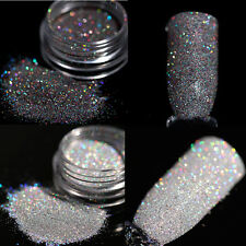 2Boxes Holographic Glitter Powder Dust Nail Art Black Gray Holo Laser Nails Tips