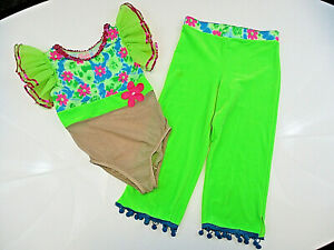 Dance-Costume-A-Wish-Come-True-Med-8-10-Child-Green-Two-piece-Jazz-Outfit-Spot