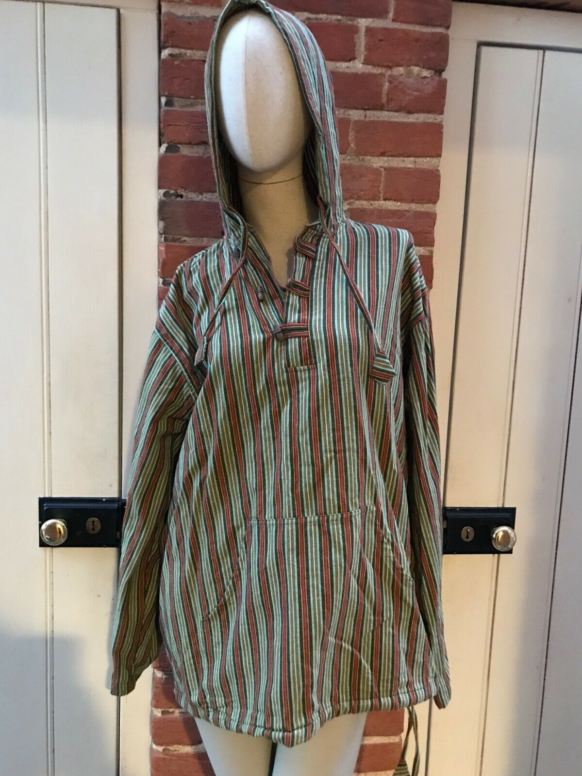 Bares Nepal Himalayan Green  Striped Cotton Gheri Hooded Jumper Top XXL