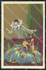 Busi Italian Art Deco Lady and Pierrot Degami serie 2074 postcard QT6666