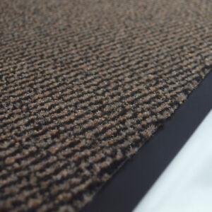 Détails sur Tapis de propreté pour entrée, accueil - Paillasson synthétique  rayé marron noir