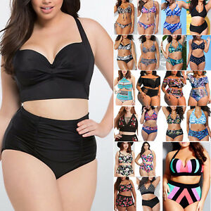 b45eb15b1f0f3 UK Women Plus Size High Waist Bikini Push Up Retro Swimwear Beach ...