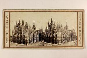 Italia-Milan-Dome-Cattedrale-Foto-Giorgio-Sommer-Stereo-Vintage-Albumina-c1865