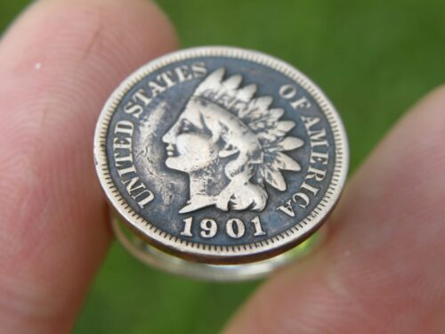 Details about  /Authentic 1901 Indian Head penny coin adjustable signet woman  ring motorcycle