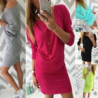 Elegant Women's Mini Dress Boat Neck Long Sleeve Tunic Top Sizes 6 8 10 12 14
