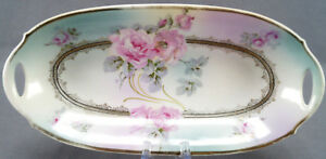 Moschendorf-Large-Pink-Rose-amp-Fancy-Gold-Celery-Dish-Circa-1900-1930