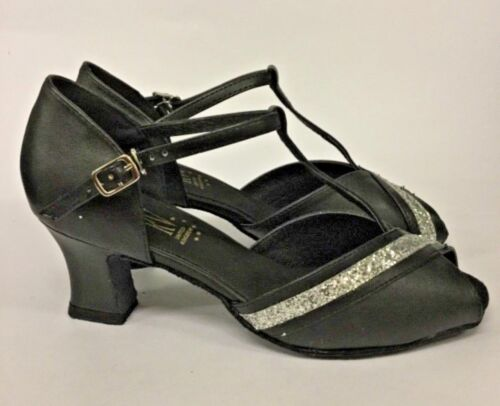 "*WIDE Fit* Ballroom Shoes MINERVA by R.Valley Black  2.2"" heel  Sz 3.5 4.5 4"