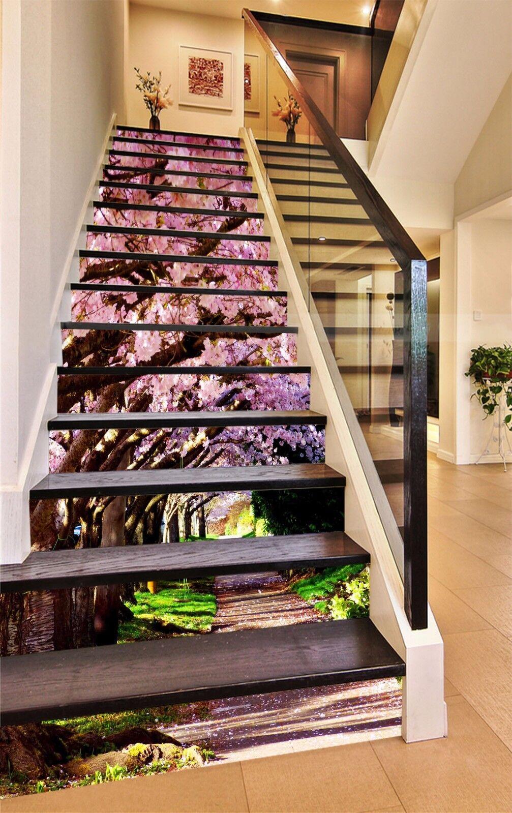 3D rose Tree 573 Stair Risers Decoration Photo Mural Vinyl Decal Wallpaper AU