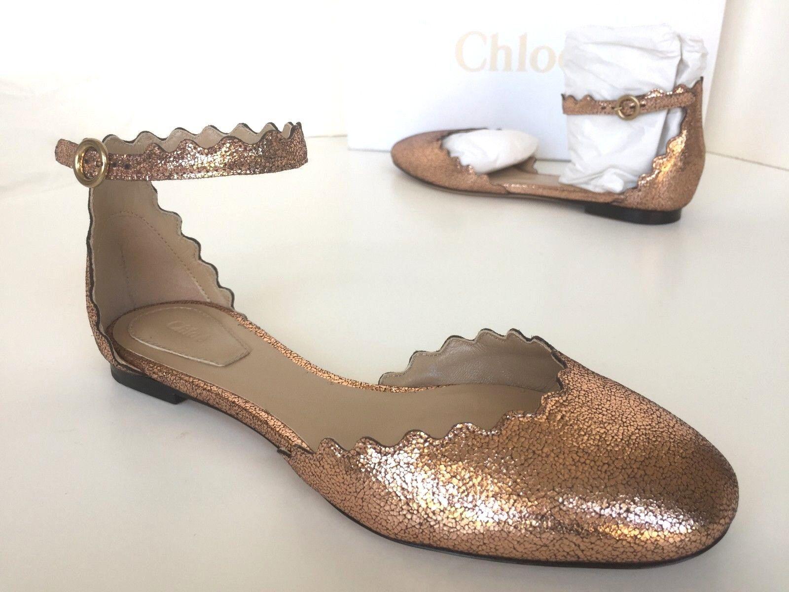 590 Chloe Lauren Scalloped Ballerina Ankle Strap Ballet Flat shoes Pink gold 34