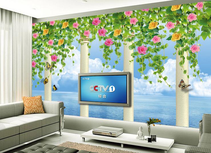 3D Leaves Flowers Sea 894 Wallpaper Mural Paper Wall Print Wallpaper Murals UK