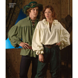 Details about S3519 Simplicity 3519 Sewing Pattern Costume Renaissance  Medieval Shirts XS-XLG