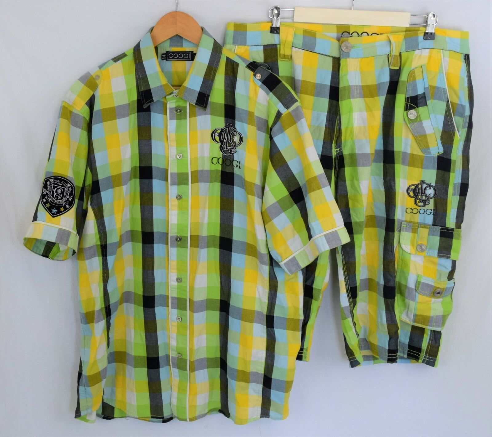 COOGI Outfit Authentic Men's XL Button up & Size 38 Shorts Set