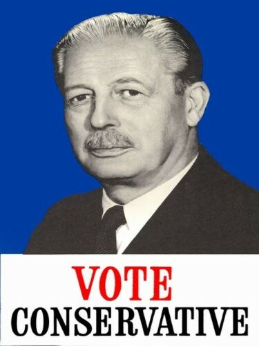 Vote Conservative Macmillan 1959 political advertising poster reproduction.