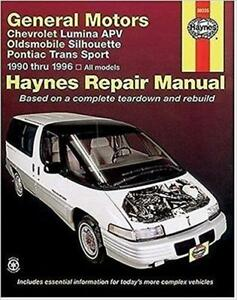 haynes oldsmobile silhouette 90 96 owners service workshop manual rh ebay co uk oldsmobile silhouette 2000 manual oldsmobile silhouette 1999 manual