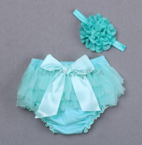 Newborn Baby Girl Flower Headband+Ruffle Bloomer Nappy Pant Shorts Photo Clothes
