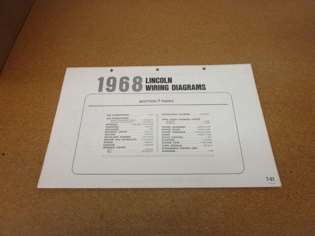 1968 Lincoln Continental Wiring Diagram Sheet Schematics