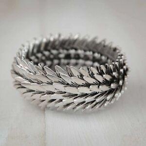 Chunky-Feather-Silver-Charm-Stretch-Bracelet-Boho-Jewellery