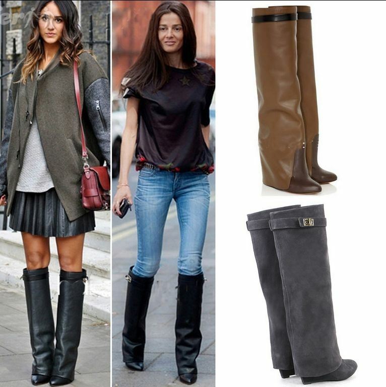 Women's Leather Knee High Boots Wedges High Heels Shoes Pointy Toes Winter Boots