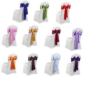1-25-50-100-Satin-Sashes-Chair-Cover-Bow-Sash-WIDER-FULLER-BOWS-Wedding-Party