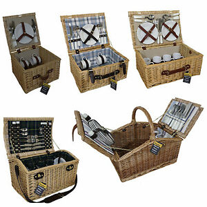 luxury wicker willow picnic baskets 2 4 person outdoor. Black Bedroom Furniture Sets. Home Design Ideas