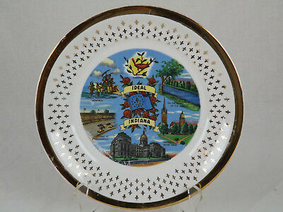 """Indiana Collector Plate Ideal Cardinal Wabash Notre Dame 9 1/4"""" Vintage Gold Antiques"""