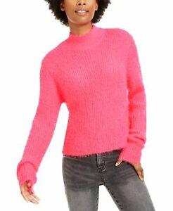 Planet Gold Juniors' Eyelash Mock-Neck Sweater - Neon Pink Size: L