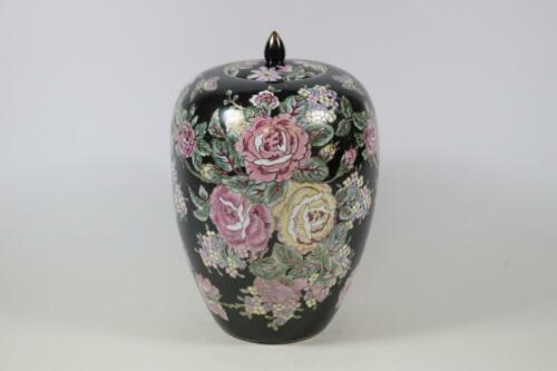 RK208 Große chinesische Deckelvase Vase Porzellan handbemalt Signatur China