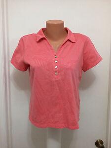 Caribbean-Joe-Women-039-s-Island-Supply-Petite-L-Hawaiian-Shirt-Polo-Salmon
