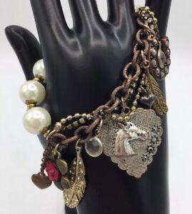 Betsey-Johnson-Pearl-Charm-Bracelet-Southwest-Flair-Cowboy-Glam