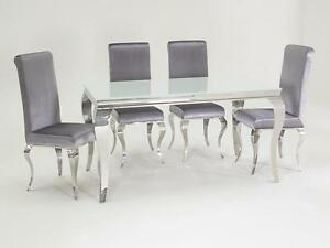 image is loading new stunning lacene white glass 160cm dining table - Silver Dining Table