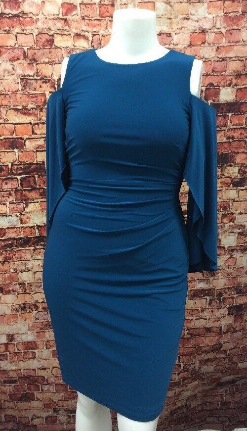 Lauren Ralph Lauren French Teal Ruched Cold Shoulder Sheath Dress