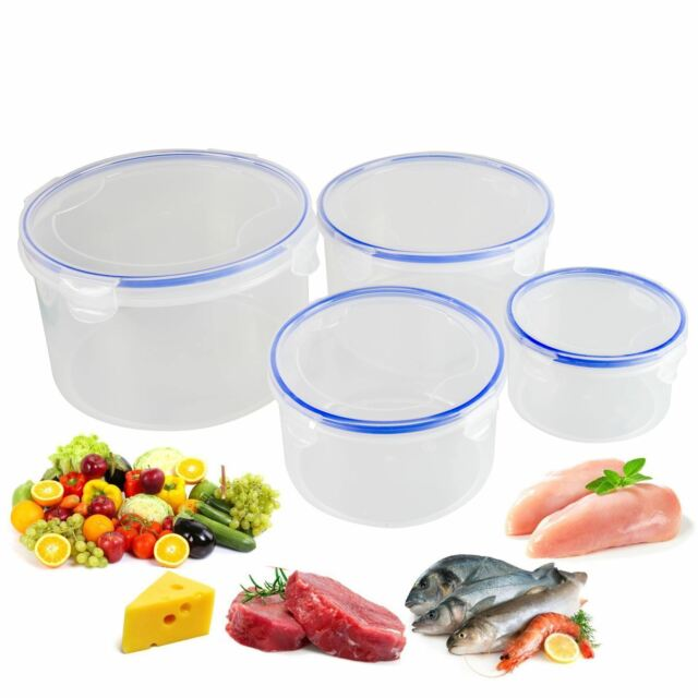5dec704c4e8 4 Pc Food Storage Container Set BPA Free Plastic Air Tight Clip Lids Space  Save