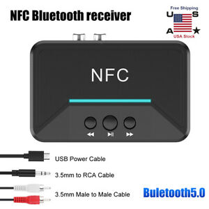 NFC Bluetooth 5.0 Car Bluetooth Receiver and Transmitter,HiFi Wireless Audio Music Adapter Dongle Aux Bluetooth Adapter with RCA 3.5mm Jack for Car Speakers Home Stereo TV Laptop PC