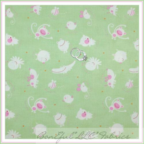BonEful Fabric FQ Cotton Quilt Green Pink Baby Nursery Animal Frog Alligator Dog