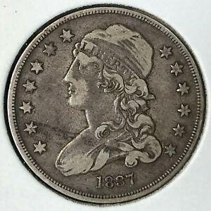 1837 SILVER CAPPED BUST QUARTER HIGH GRADE SCARCE COIN