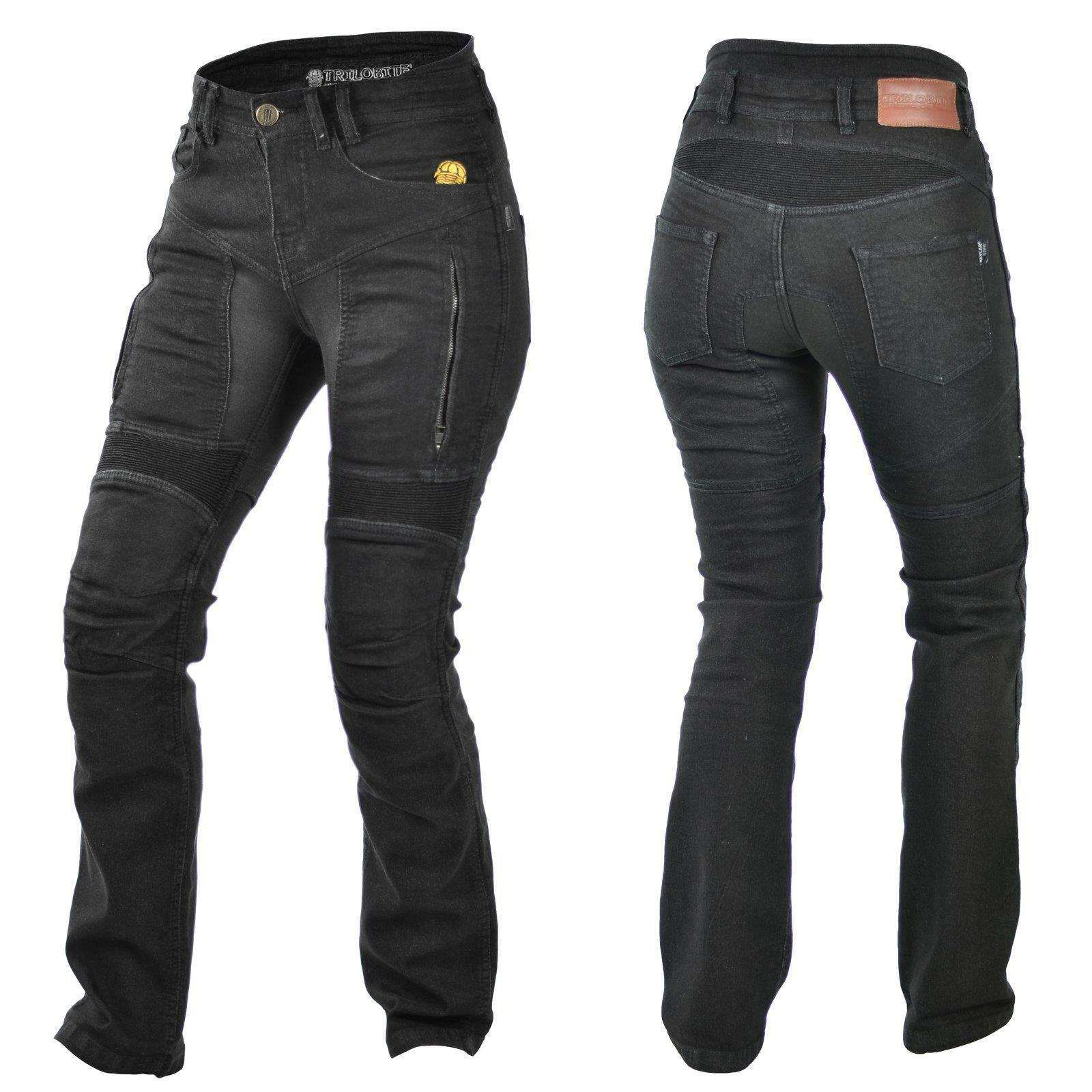 Trilobite Parado Jeans Schwarz Damen Motorrad Hose Protektoren Aramid L32