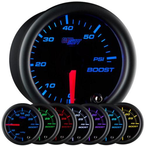 52mm GlowShift Black Face Turbo Diesel Boost 60 psi Gauge w 7 Color LEDs