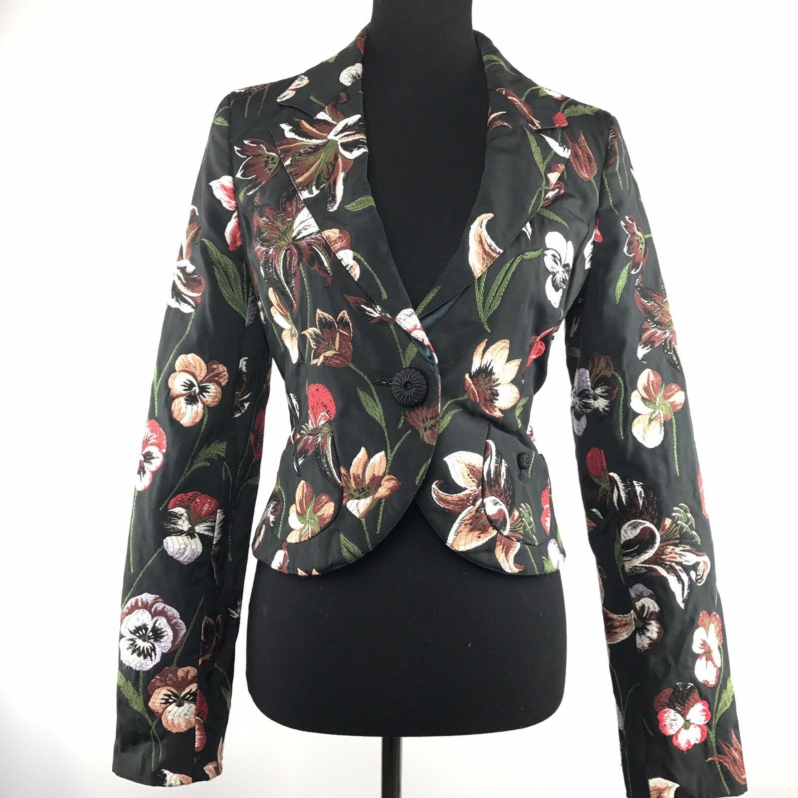 Floral Blazer Size M Embroidered Floral Casual  Career Blazer