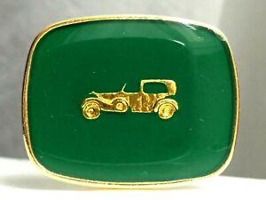 Boucle de ceinture vintage années 60 - Métal doré émaillé vert 32 x 41