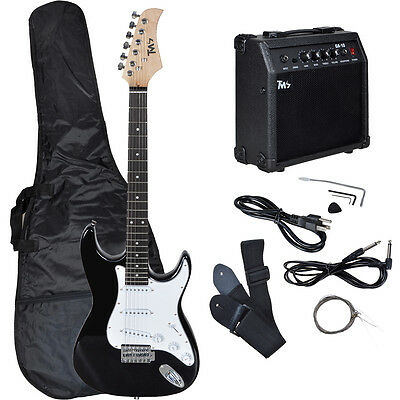 Full Size Electric Guitar w/ 10 Watt Amp Gig Bag Case Guitar Strap for Beginners