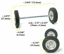 "TRADESHIP 1/24 1/32 Slot Car 1/8""x2 Axle +ALUMINUM FRONT END WHEELS +TIRES 5/40"