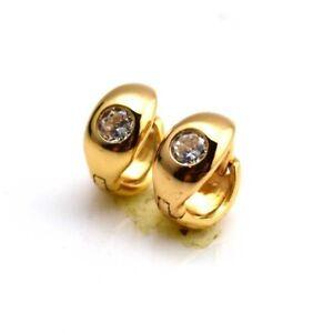Women/'s Earrings Unique Hoop Huggie 18k Yellow Gold Filled 14mm Fashion Jewelry