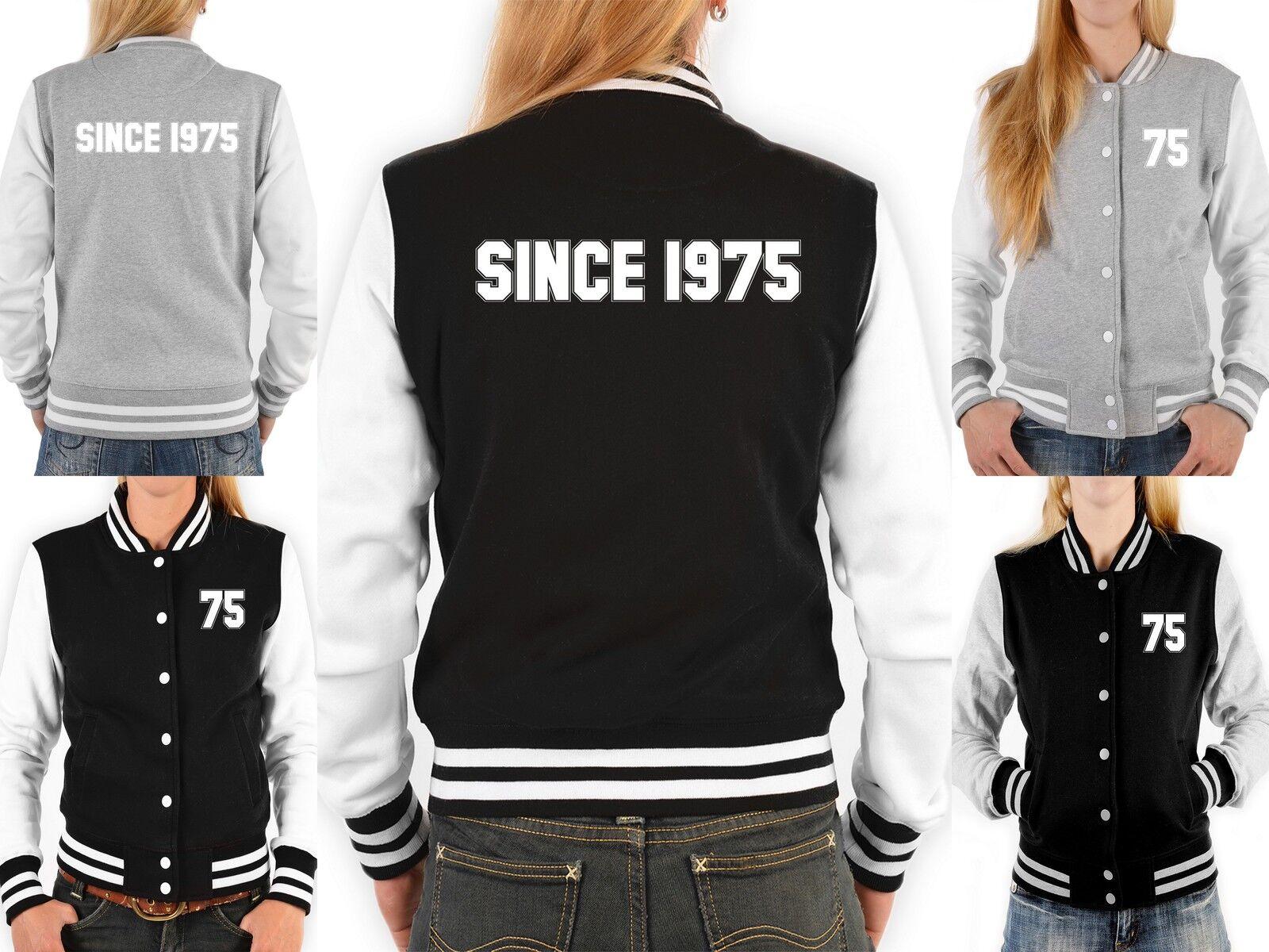 Damen College Jacke - Jahreszahl 1975 - College Sweatjacke Zahl 75   since 1975